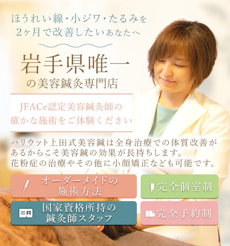 ほうれい線、小ジワ、たるみを2ヶ月で改善したいあなたへ岩手県唯一の美容鍼灸専門店